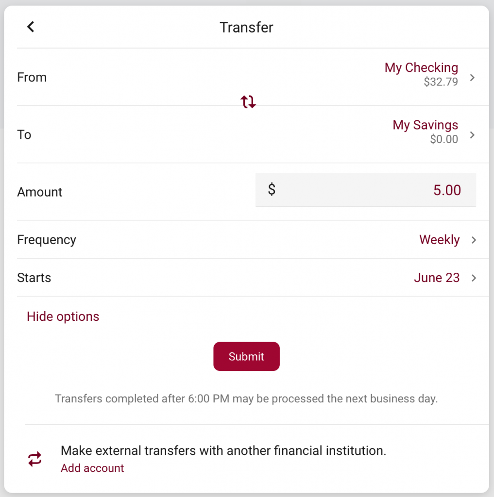 Transfers - Desktop